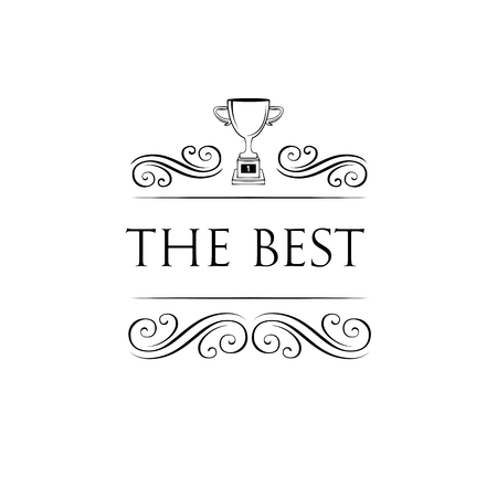 Trophy Cup icon. Decorative swirly frame. The Best inscription. Scroll element, filigree design elements. Winner symbol. Reward, Champions badge. Vector illustration.
