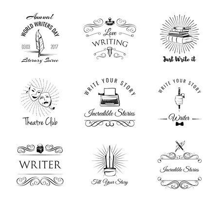 Writer design elements. Vintage pen. ink, books, typewriter, theater masks, paperweight. Writing set. Design elements collection. Vector illustration. Ilustrace