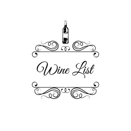 Wine list design. Wine bottle, decorations, ornate flourish swirls. Wine card, Wine menu. Alcohol drink. Vector illustration. Illustration