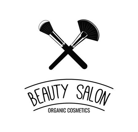 Beauty Salon icon, label, emblem. Makeup Brushes icoons. Vector Illustration isolated on white background.