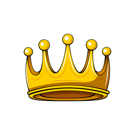 Golden cartoon crown. Royal badge. King symbol. Queen sign. Design element. Vector illustration.
