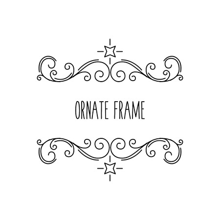 Ornate frames, calligraphic floral elements. Swirls, Curls, Scrolls. Flourish border. Page dividers. Greeting card, Wedding invitation. Vector illustration.