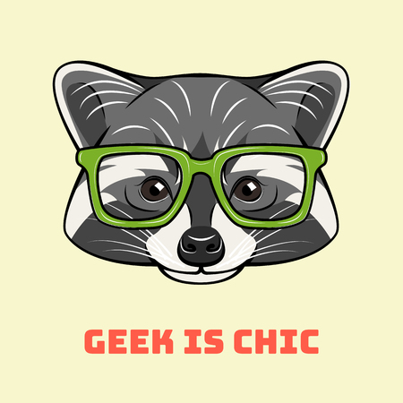 Racoon nerd. Smart glasses. Geek animal portrait. Geek is chic inscription. Vector illustration. Illustration
