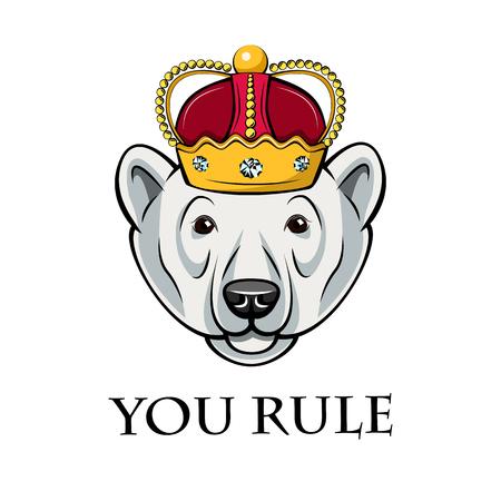Polar bear king. Crown icon. You rule inscription. Royal symbol. Vector illustration. Standard-Bild - 103665069
