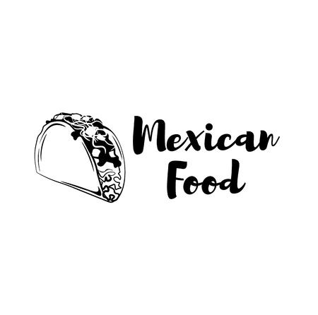 Taco icon. Mexican food icon. Cartoon tacos badge. Mexico symbol. Spicy food. Mexican cuisine. Vector illustration.