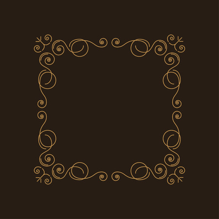 Flourishes frame. Swirls, decorative scroll elements. Vintage ornament greeting card vector template. Retro wedding invitations, advertising or other design and place for text. Vector illustration. 矢量图像