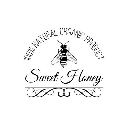 Bij. Zoete honing pictogram. Inscriptie van natuurlijk biologisch product. Decoratief sierlijk frame. Vector illustratie. Vector Illustratie