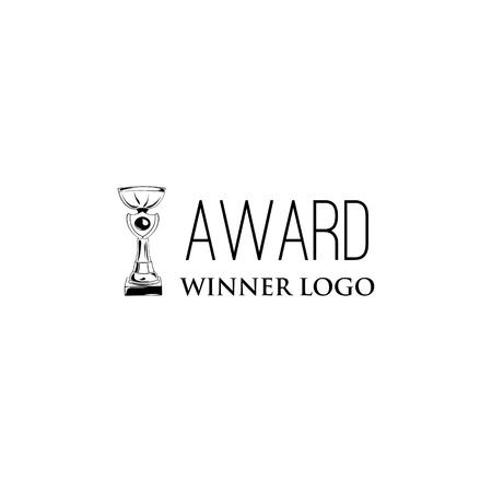 Winner cup badge. Winner award Champions prize. Trophy, Reward. Design element.