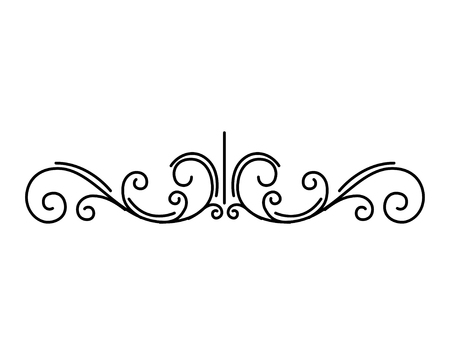 Vintage blühende Seitenteiler. Dekorative Blumenwirbel, Schriftrollen. Retro-Element. Kalligraphisches filigranes Muster. Seitenrand. Vektorillustration.