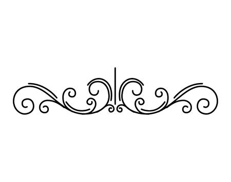 Vintage flourish page dividers. Decorative floral swirls, scrolls. Retro element. Calligraphic filigree pattern. Page border. Vector illustration. Illustration
