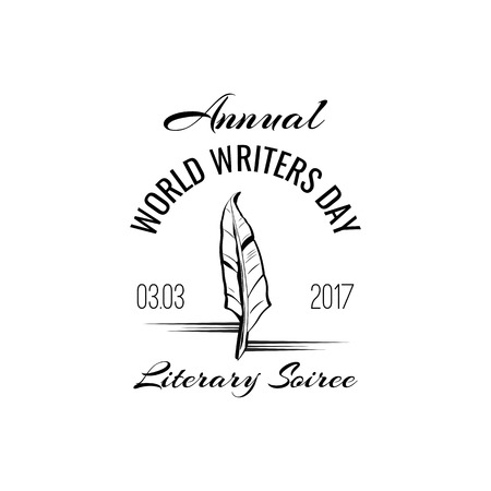 Writing pen icon. World Writers Day. Vintage pen, Feather. Vector illustration. Çizim
