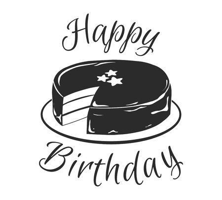 Birthday Cake. Greeting card design. Happy Birthday inscription. Vector illustration isolated on white background.