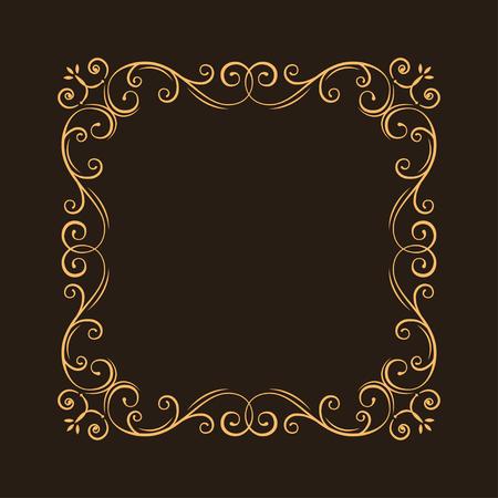 Vintage ornate filigree frame. Decorative ornamental page decoration, borders, calligraphic design elements for invitation, congratulation, greeting card, menu, certificate. Vector illustration.