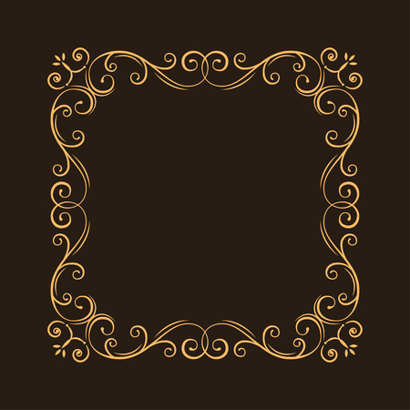 Vintage ornate filigree frame. Decorative ornamental page decoration, borders, calligraphic design elements for invitation, congratulation, greeting card, menu, certificate. Vector illustration.