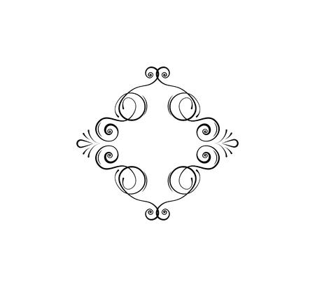 Calligraphic swirly frame, decorative flourish dividers. Flourish filigree pattern. Ornamental deisgn element, border. Wedding invitation, Page decoration, Menu design. Vector illustration.