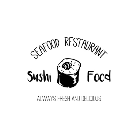Sushi food icon. Seafood restaurant label. Sushi bar . Fish menu badge. Vector illustration.