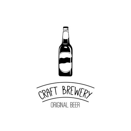 Beer bottle icon. Craft Brewery icon. Cratf beer, Ale, Cider. Alcoholic beverage, Alcohol bottle. Menu design. Vector illustration. Illustration