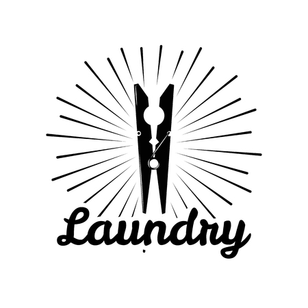 Clothes Pin icon. The Laundry icon, Dry Cleaning Service label. Clothes Pin in beams. Vector illustration. Иллюстрация