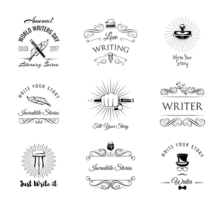 Writers labels set.  Paperweight, feather, elegant pen, writer, literary. Swirls, ornamental filigree frame, decorative design elements. Vector illustration.