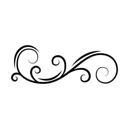 Calligraphic decorative swirl. Flourish scroll, floral wave. PAge divider, filigree border. Book decor. Greeting card, Wedding invitation design. Vector illustration.