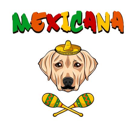 Labrador retriever dog. Maracas, Sombrero, Mustache. Mexico symbols. Vector illustration. Illustration