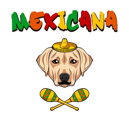 Labrador retriever dog. Maracas, Sombrero, Mustache. Mexico symbols. Vector illustration. 일러스트