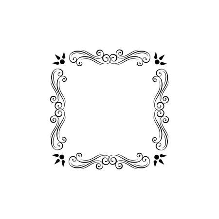 Floral decorative frame. Ornamental floral swirls, scroll elements. Filigree page decorations. Menu design, Wedding invitation, Greeting card design. Vector illustration. 矢量图像