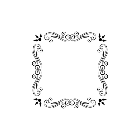Floral decorative frame. Ornamental floral swirls, scroll elements. Filigree page decorations. Menu design, Wedding invitation, Greeting card design. Vector illustration. Illustration