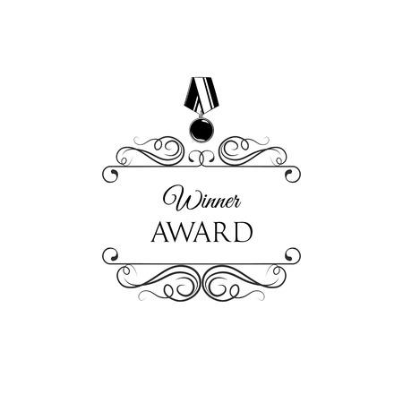 Winner award. Vintage medal badge. Decorations, Swirls, ornate frames. Victory symbol, Trophy, Reward, Prize. Win emblem with decoration. Vector illustration.