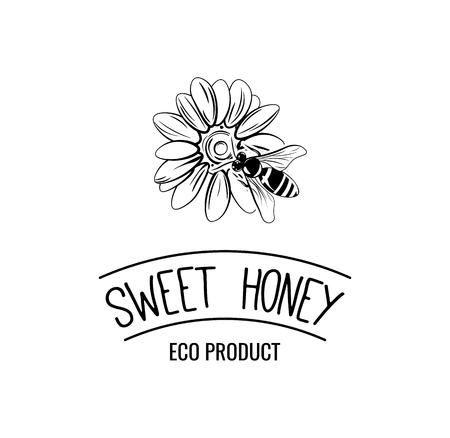 Flower, bee. Sweet honey  illustration. Eco product badge. Bee on flower. Illustration