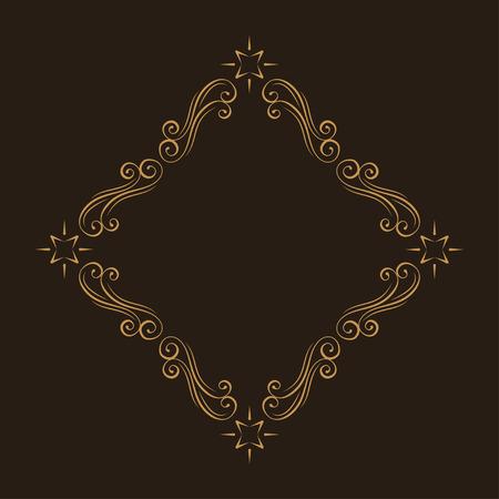Floral filigree design element. Calligraphic frame. Swirls, Curls, Waves. Flourish border. Wedding invitation, Save the date card design. Vector illustration.