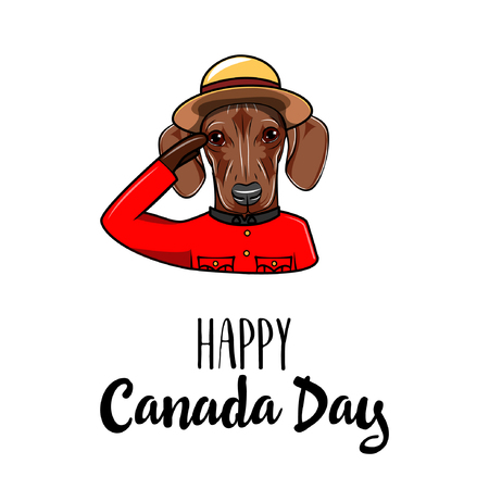 Dachshund dog. Happy Canada day. Dog wearing in Royal Canadian Mounted Police form. Greeting card. Vector illustration.