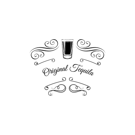 Tequila shot icon. Decorative elements, switls, filigree ornate frame. Original tequila text. Alcohol drink badge. Vector illustration.