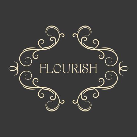 Flourish filigree calligraphic frame. Page scroll decoration, Ornamental antique borders. Design element. Save the date, Wedding invitation design. Vector illustration. Illustration