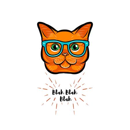 Ginger cat geek. Smart glasses. Red cat nerd. Cat portrait. Vector illustration. Illustration