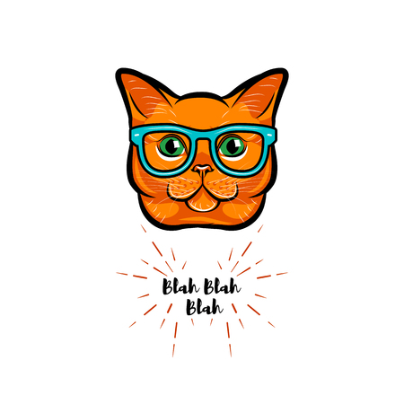 Ginger cat geek. Smart glasses. Red cat nerd. Cat portrait. Vector illustration. Иллюстрация