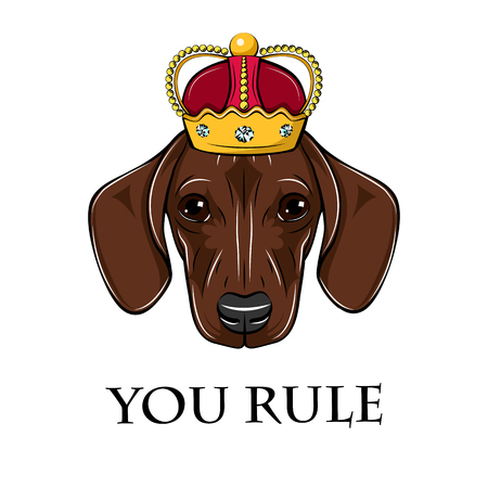Dachshund king. Crown icon. You rule inscription. Royal symbol. Vector illustration.