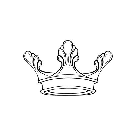Crown line icon. Royal symbol. Design element. Vector illustration.