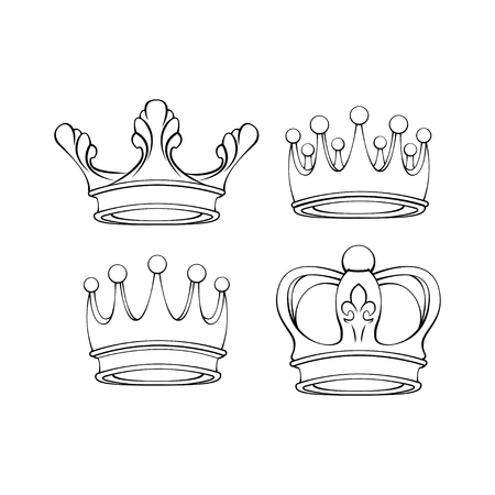 Crown line icons set. Royal symbols collection. Design elements. Vector illustration isolated on white background. Иллюстрация