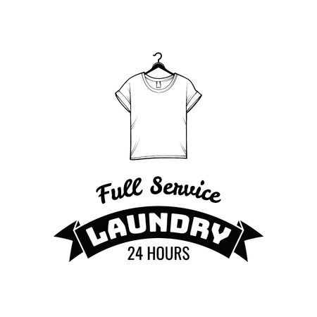T-shirt icon. Laundry label, emblem. Full service inscription. Dry cleaning badge. Vector illustration.