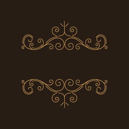 Flourish vintage page decorations. Swirls, scroll elements. Floral filigree pattern. Certificate design, Wedding invitation, Menu design. Vector illustration. Illustration