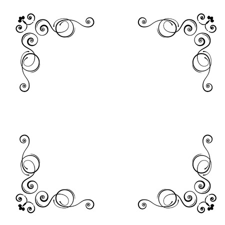 Ornamental floral corners. Calligraphic decorative frame. Decorating of wedding invitations, greeting cards, save the date card. Vector illustration.