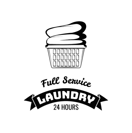 Laundry basket icon. Laundry label. Full service inscription. Vector illustration.  イラスト・ベクター素材