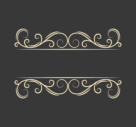 Pecorative filigree ornamental page divider. Swirls, curls. Vintage boder. Calligraphic design elements. Greeting card. Wedding invitation. Vector illustration.