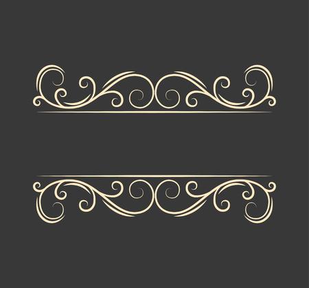 Pecorative filigree ornamental page divider. Swirls, curls. Vintage boder. Calligraphic design elements. Greeting card. Wedding invitation. Vector illustration.