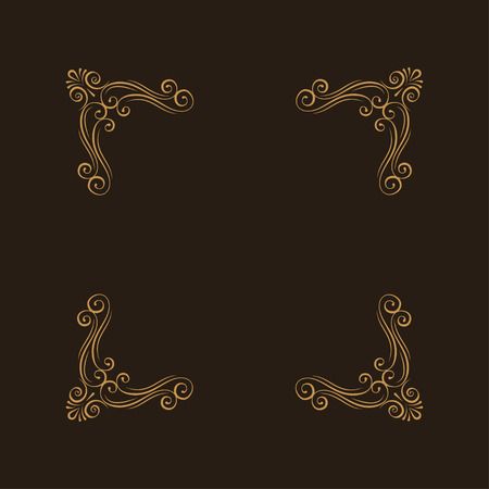 Ornamental decorative floral corners. Calligraphic design elements. Book decor. Swirls, curls. Greeting card, Wedding invitation. Vector illustration.