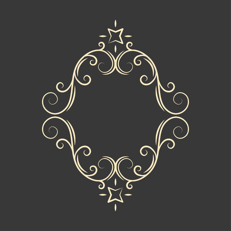 Flourish decorative frame. Swirly line curl patterns. Greeting cards, wedding invitation, save the date design. Vector illustration. Illustration
