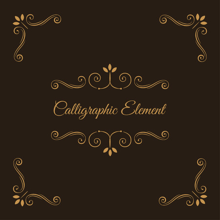 Calligraphic elements. Decorative corners. Ornate frame. Filigree swirls, curls, scroll flourish elements. Wedding invitation, Book decor, Save the date card. Vector illustration.