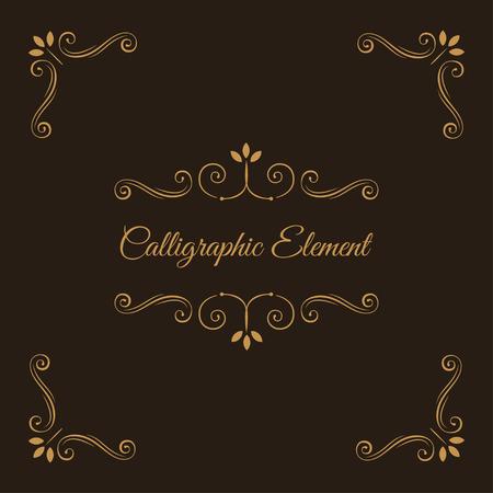 Calligraphic elements. Decorative corners. Ornate frame. Filigree swirls, curls, scroll flourish elements. Wedding invitation, Book decor, Save the date card. Vector illustration.
