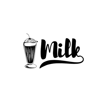 Milkshake icon. Milk icon. Dairy label. Vector illustration.
